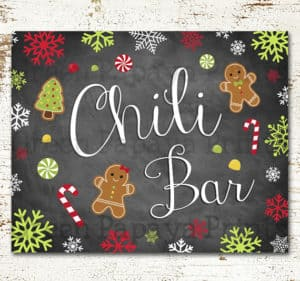 Christmas themed chili bar sign