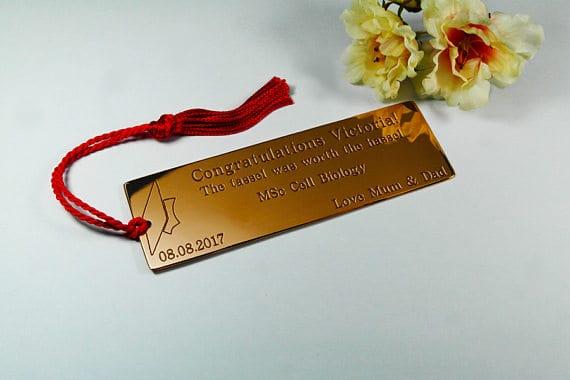 Engraved Bookmark with Graduation Tassel