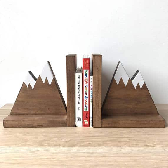 Stained Wooden Bookends