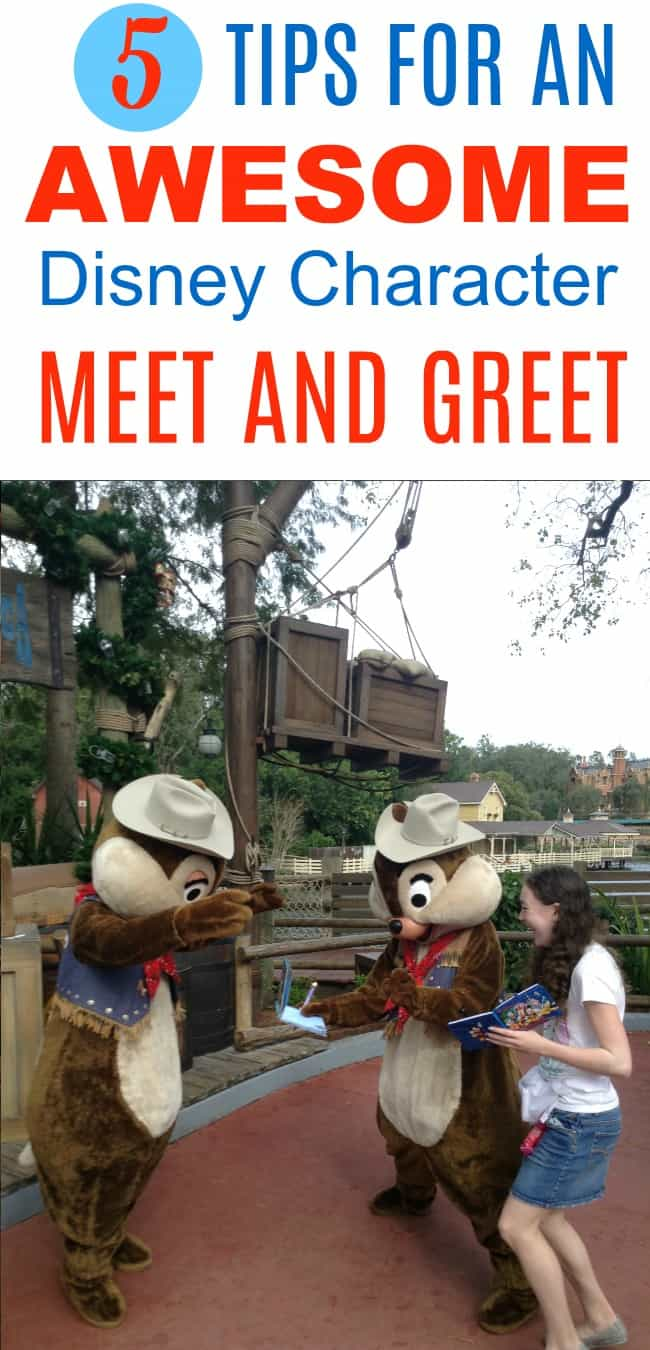 The best tips for families about Disney character meet and greets, whether at a breakfast or dinner meal at a character restaurant or just out and about in the parks at Disney World or Disneyland. Includes funny things that kids can say to Mickey and Minnie Mouse, Chip and Dale, and other favorite characters to make the meeting awesome!