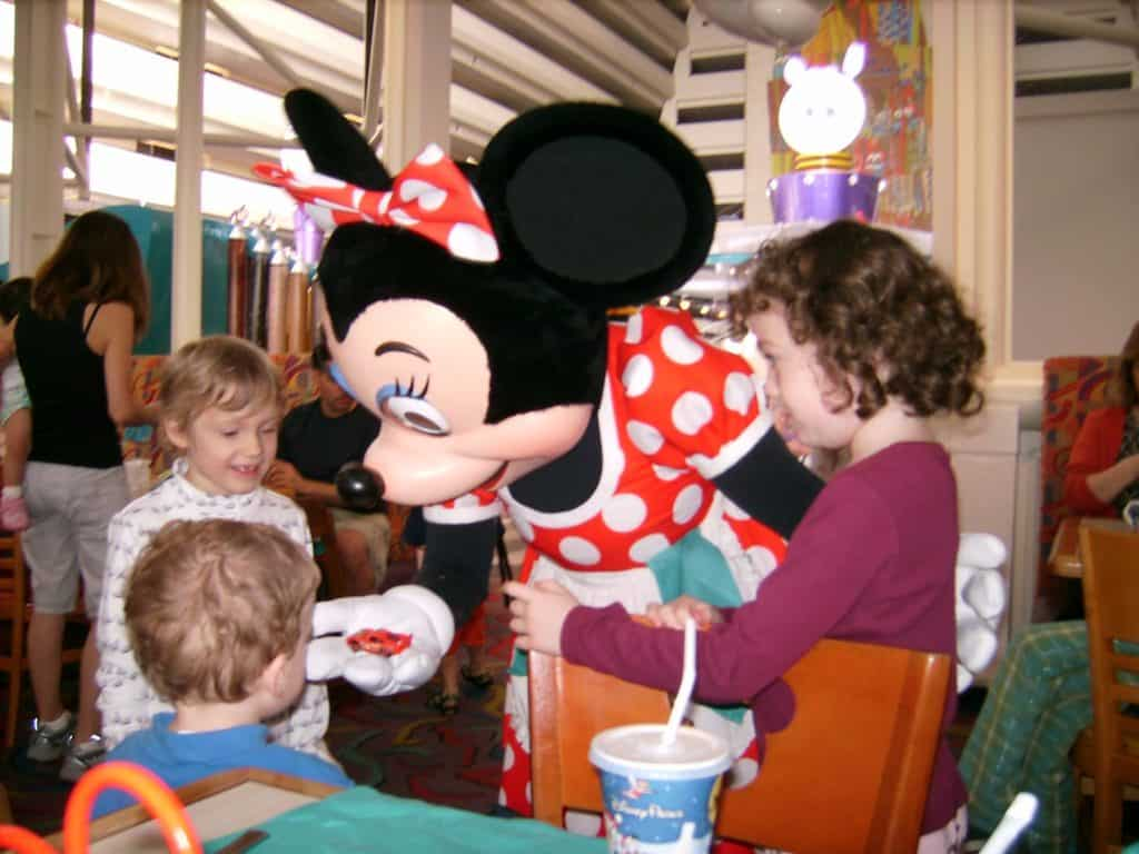 Disney Character meet and greet at Chef Mickey with Minnie Mouse