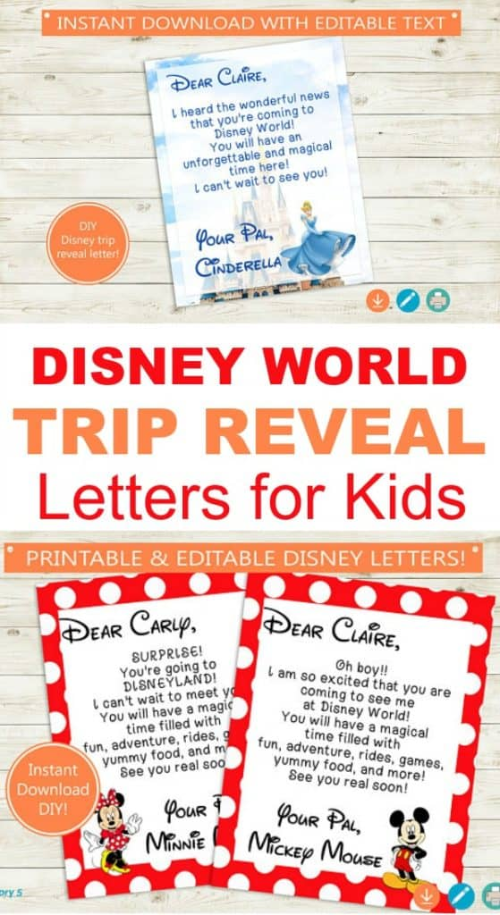 Disney World or Disneyland Trip Reveal Letters for Kids from their favorite Disney characters