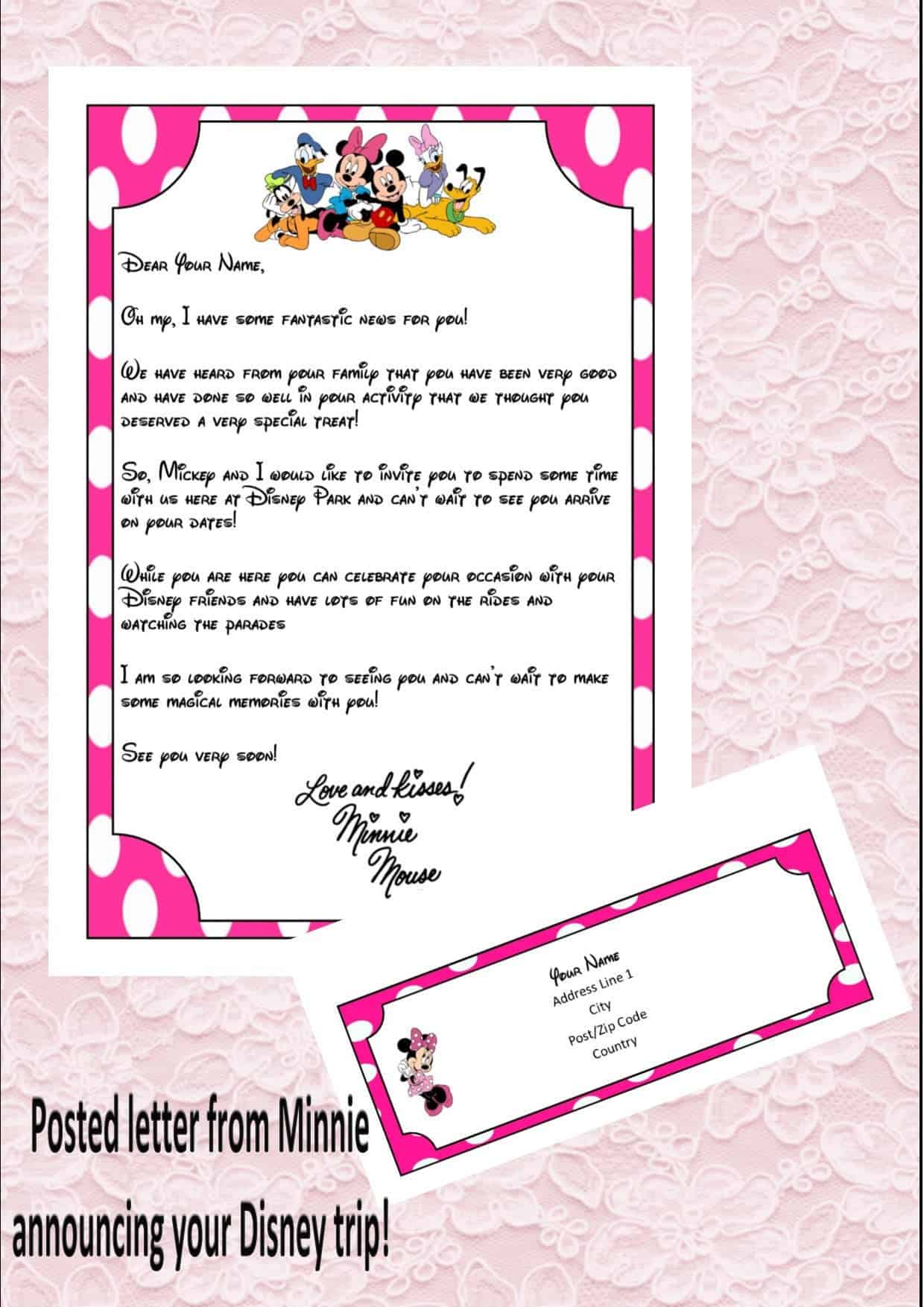 Disney letter from Minnie Mouse