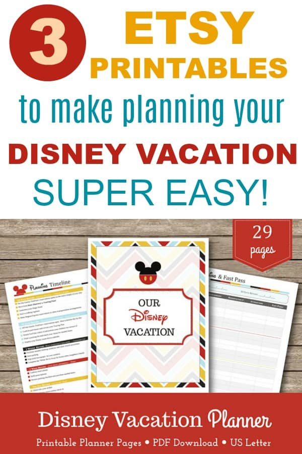 Etsy printables to make planning your disney vacation super easy -- vacation planners and budget trackers