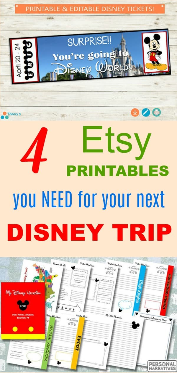 4 Etsy Printables You Need for Your Next Disney vacation