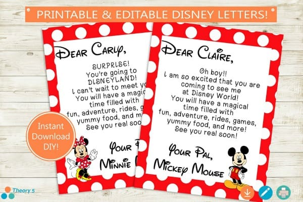 Disney trip Letter from Mickey and Minnie Mouse