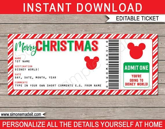 Christmas Printable Disney World Ticket