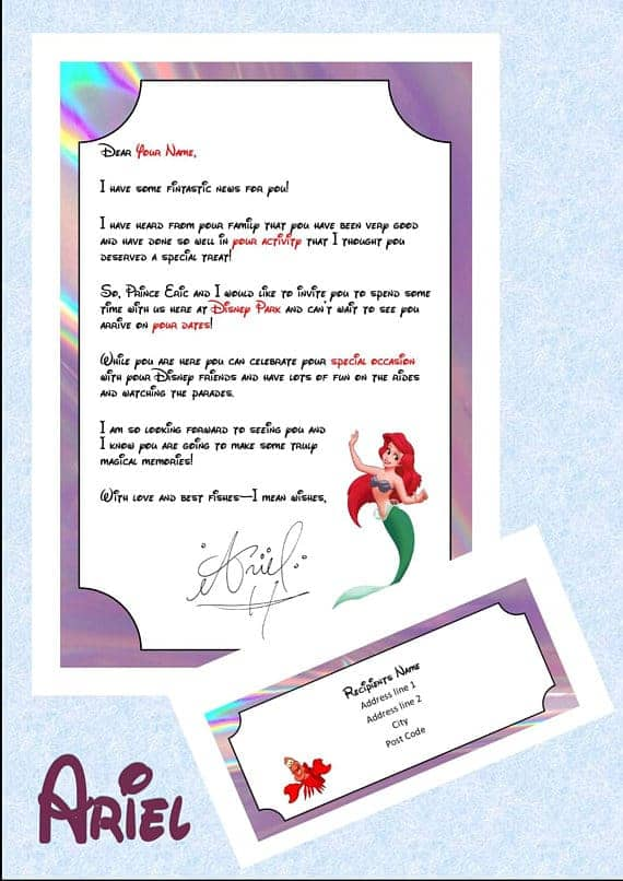 Surprise Disney trip letter from Ariel