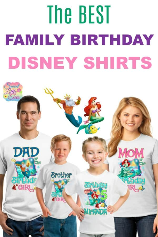 Best Family Birthday Disney Shirts. Ariel Little Mermaid shirts. Etsy shop products.