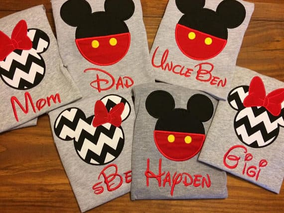 Matching family Mickey and Minnie Shirts