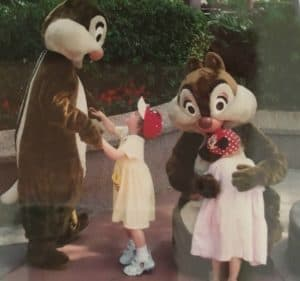 Toddlers and Preschoolers meeting Disney characters Chip and Dale at the Magic Kingdom