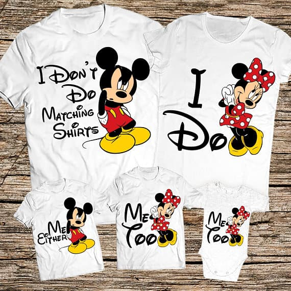 Mickey and Minnie Mouse matching Disney shirts