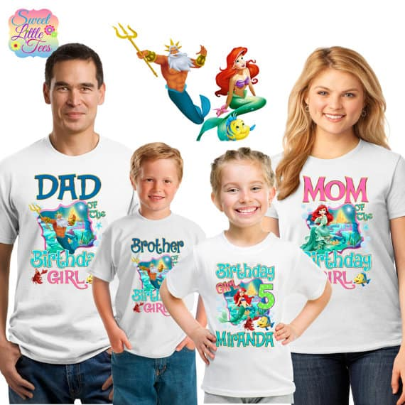 Little Mermaid family birthday shirts