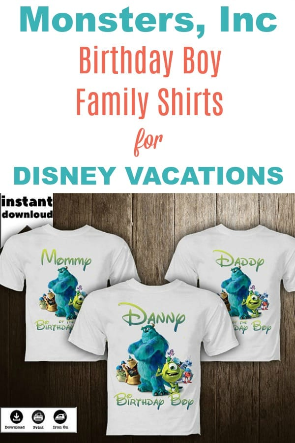 Unique birthday Disney shirts for the family. Kids will love these cute matching Monsters, Inc shirts for their family vacation to Disney World or Disneyland