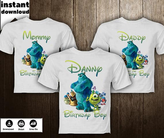 Monsters Inc Family Birthday Shirts