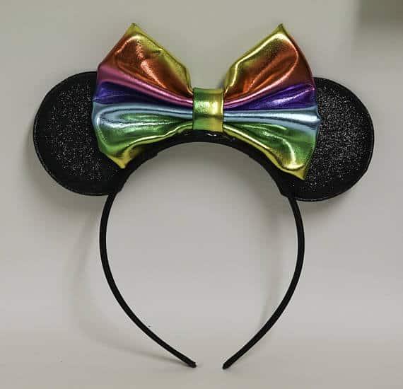 Mouse Ears headband with rainbow bow