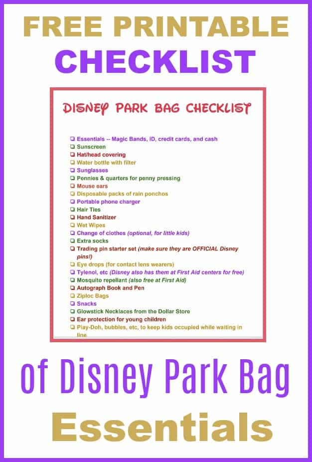 Free printable checklist of Disney Park Bag Essentials