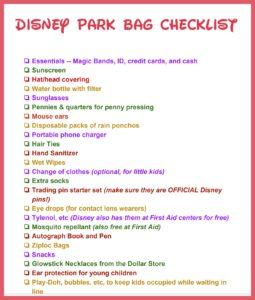 Printable Disney Park Bag Checklist