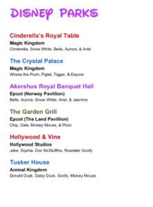 Printable Disney Character Dining Checklist