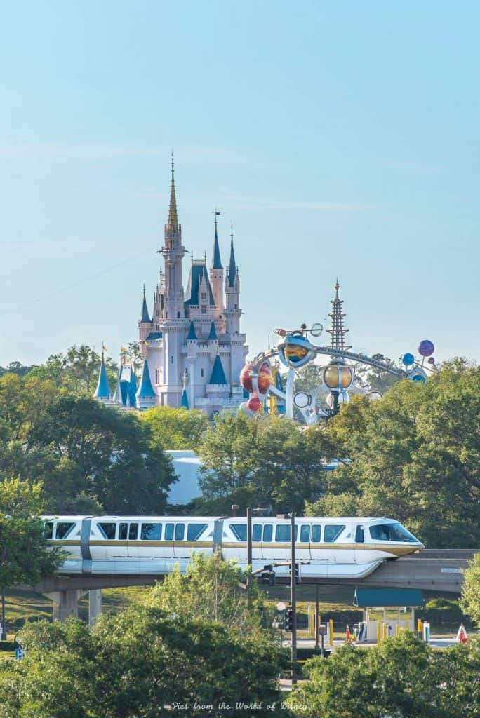 Monorail and Cinderella castle at the Magic Kingdom in Walt Disney World