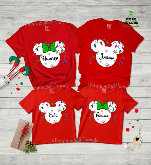 Personalized Disney family shirts for Christmas