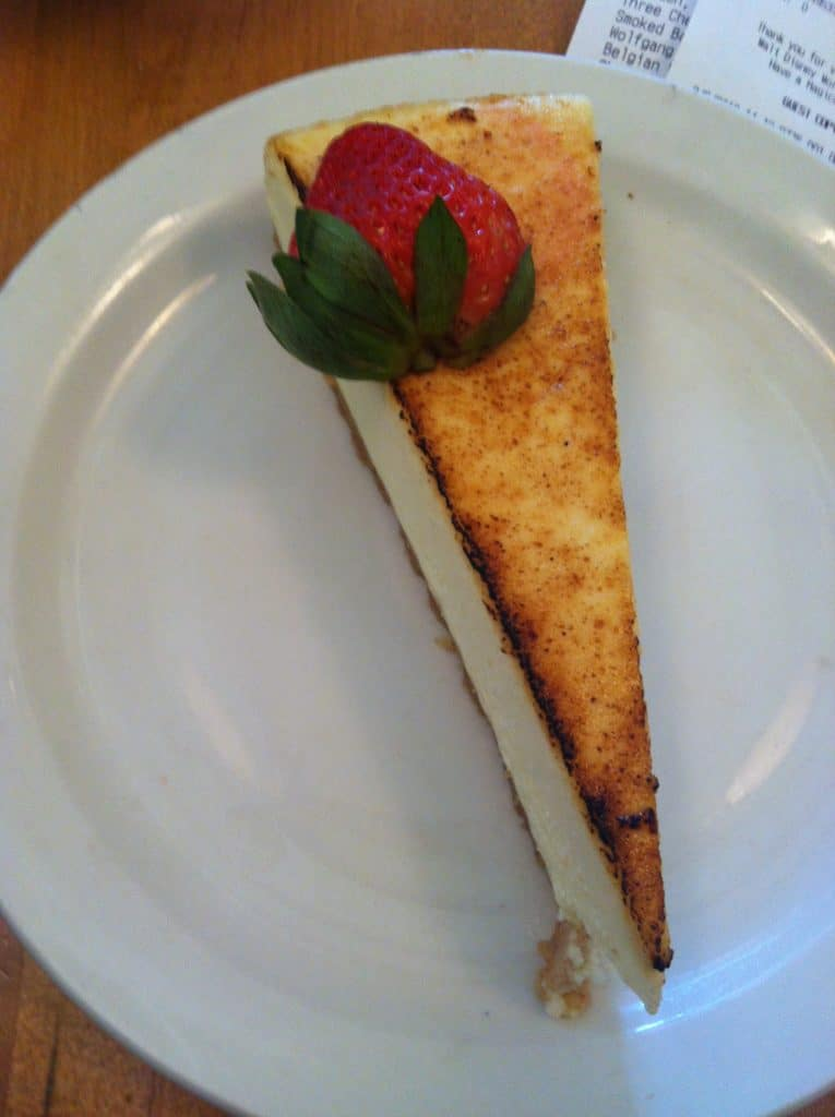 Cheesecake at Wolfgang Puck Express in Disney Springs