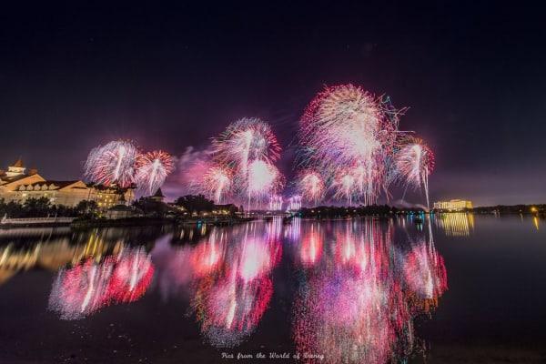 Fireworks view from Disneys Polynesian Resort beach