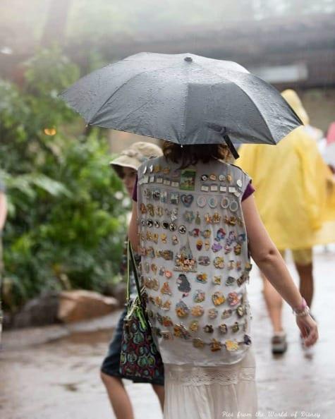 Walking in rain at Walt Disney World with umbrella