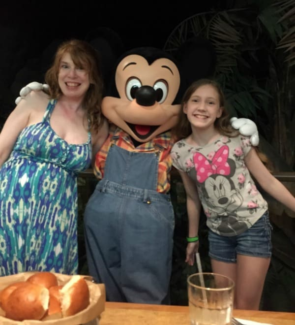 Farmer Mickey Mouse at Epcot's Garden Grill rotating restaurant