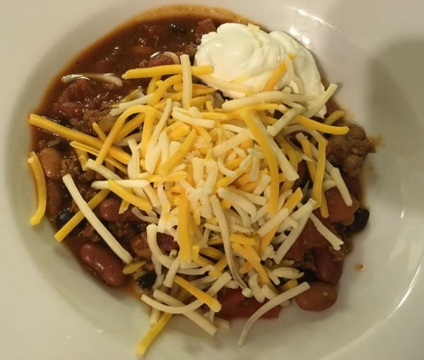 Jamie Deen's chili with sour cream and cheese
