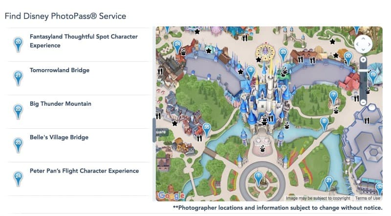 Map of where Disney PhotoPass photographers are located