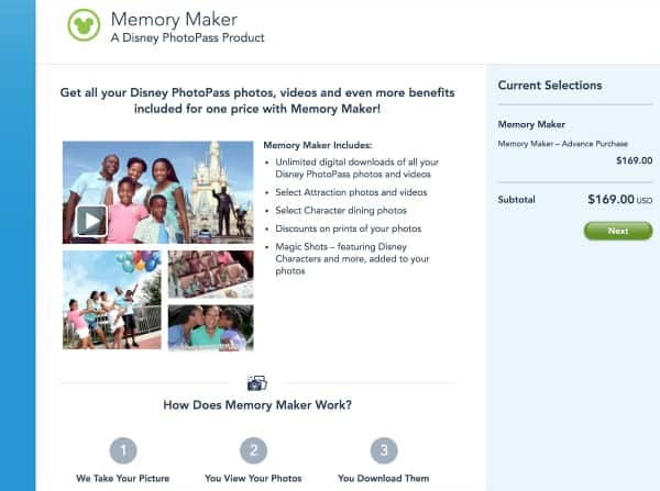 How to purchase Disney Memory Maker