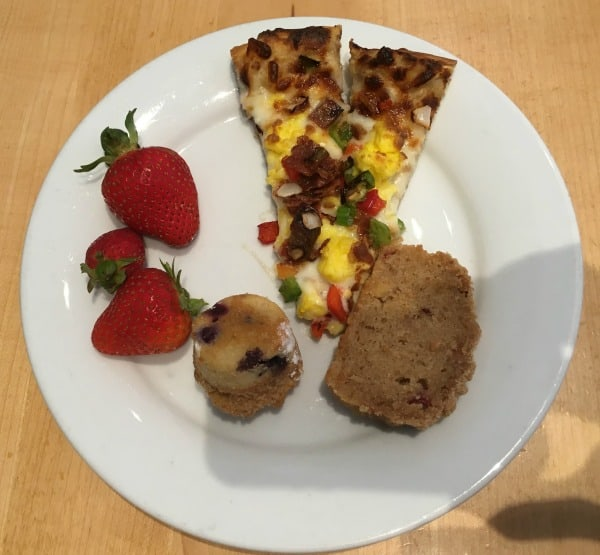 Breakfast Pizza, Strawberries, and Cranberry Bread at Cape May Cafe