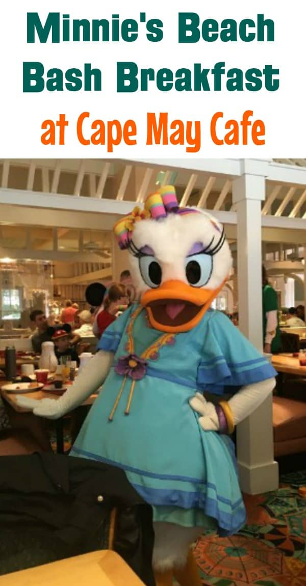 Minnie's beach bash breakfast at Cape May Cafe: characters, menu, and prices
