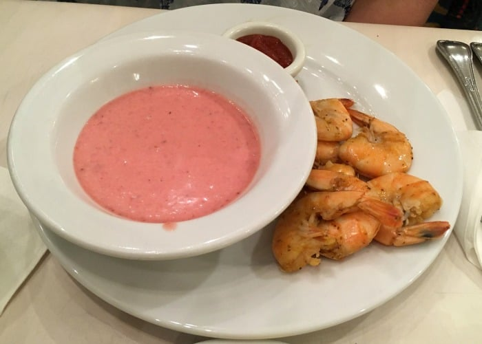 Strawberry soup and shrimp at dinner buffet