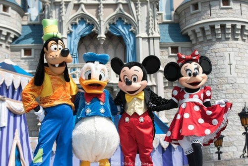 Goofy, Donald Duck, and Mickey and Minnie Mouse at Disney World
