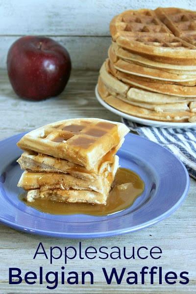 Homemade applesauce Belgian waffles