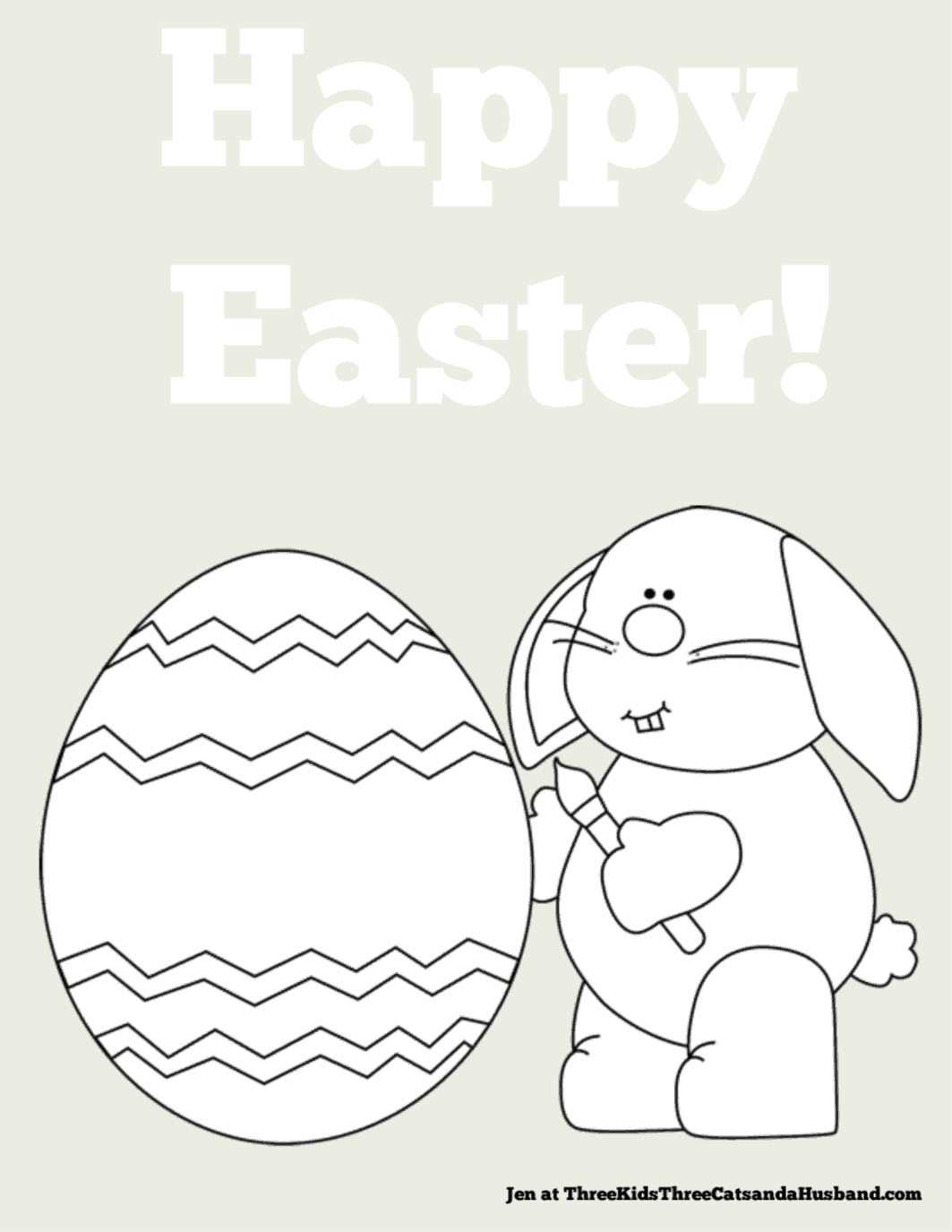 Easter Bunny and Egg coloring page for kids