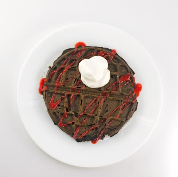Chocolate Death Star Waffles-With Strawberry Sauce Recipe-Waffle-with sauce and whipped cream