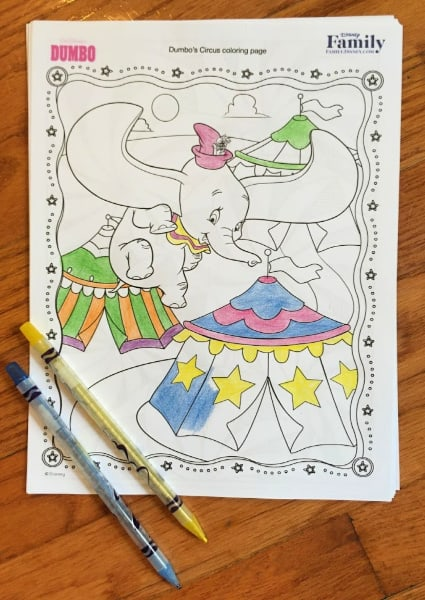 free printable Dumbo coloring page for kids