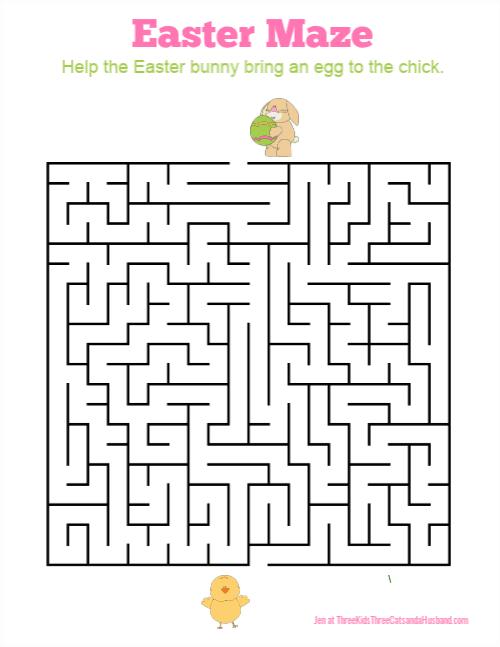 Easter maze for kids