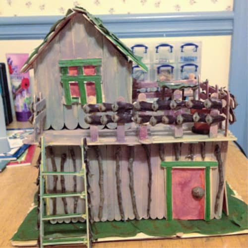 Fairy house with popsicle sticks