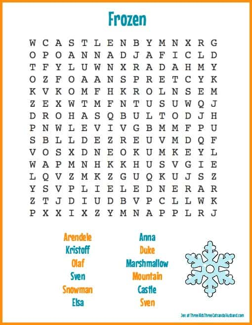 Anna and Elsa word search
