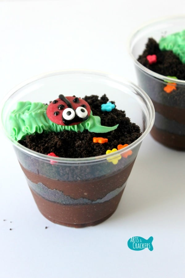 Ladybug chocolate pudding dirt cups
