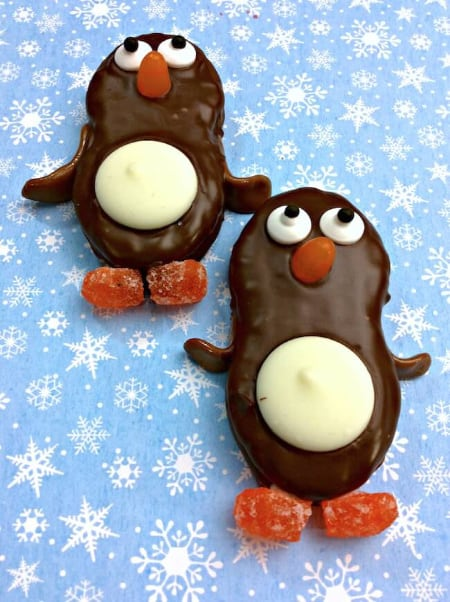 Chocolate Covered Nutter Butter Penguin Cookies