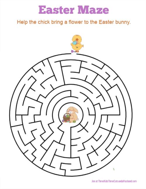 Free Printable Easter Bunny Maze