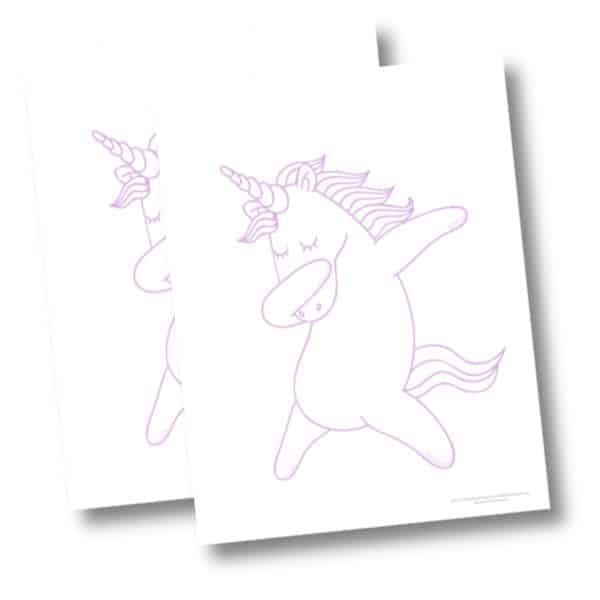 Dabbing unicorn coloring page mockup