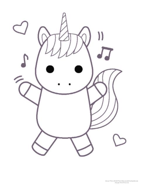 Free printable dancing unicorn coloring page