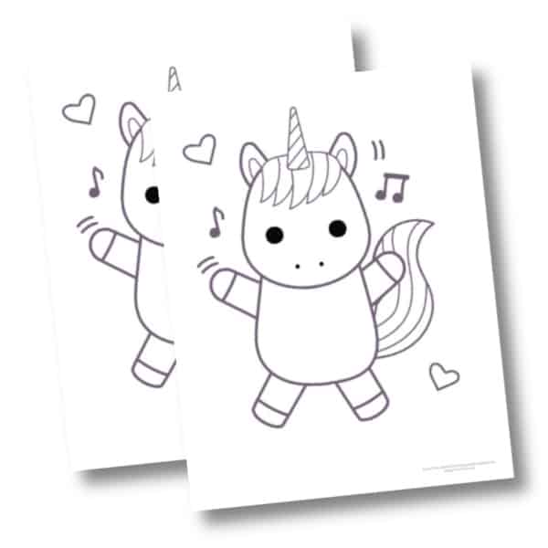 Dancing Unicorn Coloring Pages Mockup