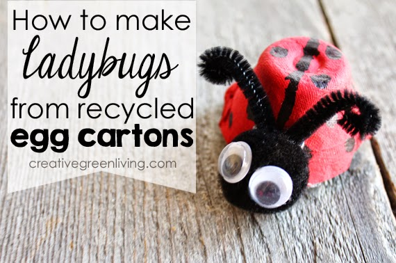 Ladybugs from Recycled Egg Carton